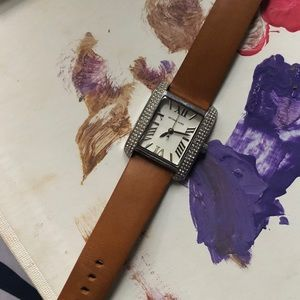 Brown leather MK watch